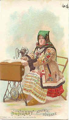 """TDC-111. An Excellent Trade Card, vintage 1892 advertising Singer Sewing machines. Published in 1892 by Singer Sewing Machines for their """" Singer In Foreign Lands series. The 107 years old card measures 5 1/4 x 3 inches with written notes on ba..."""
