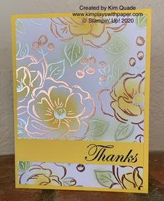 Stampin' Up! Flowering Foils Specialty Designer Series Paper - - New Sale-A-Bration items released today including the Flowering Foils Specialty Designer Series Paper offerd by Stampin' Up! Tarjetas Stampin Up, Stampin Up Karten, Clay Stamps, Foil Paper, Paper Cards, Handmade Stamps, Greeting Cards Handmade, Fun Fold Cards, Stamping Up Cards