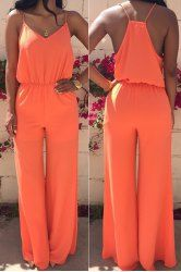Stylish Spaghetti Strap Sleeveless Solid Color Women's Baggy Jumpsuit