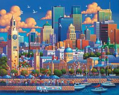 Montreal by Eric Dowdle Of Montreal, Montreal Canada, Stone Street, Collages, Puzzle Art, New York Art, Cartoon Art Styles, Naive Art, Detail Art