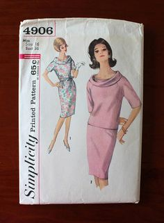 Vintage Sewing Pattern 1960s Dress Blouse and Skirt