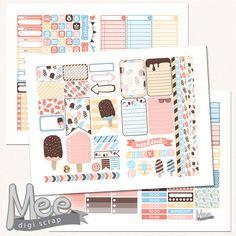 Printable sticker kit Ice Cream, DIY planner stickers,The Happy planner stickers,Mambi stickers,summer treats stickers,cut file,instant by MeeDigiScrap on Etsy