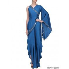 Paper Silk Hand Work Blue One Sleeve Harem Style Dress Western Gown, Western Dresses, Indian Dresses, Indian Outfits, Stylish Dress Designs, Stylish Dresses, Fashion Dresses, Drape Gowns, Draped Dress