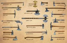 Weapons more axes (Egil Thompson) is part of Medieval weapons - Fantasy Armor, Fantasy Weapons, Medieval Fantasy, Types Of Swords, Sword Types, Armadura Medieval, Medieval Weapons, Weapon Concept Art, Knives And Swords
