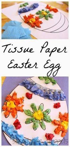 Easter Crafts for Kids: Tissue Paper Easter Egg Craft Easter Art, Easter Projects, Easter Crafts For Kids, Easter Eggs, Easter Ideas, Bunny Crafts, Easter Table, Easter Decor, Kids Diy