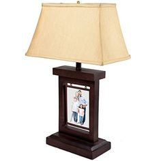 Photo Frame Panel Rustic Table Lamp Pictures Artwork Rectangular Fabric Shade ** Check out this great product. (Note:Amazon affiliate link)
