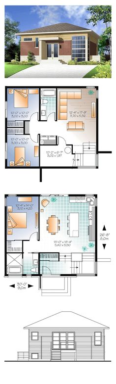 Modern House Plan 76299 | Total Living Area: 1587 sq. ft., 3 bedrooms & 1.5 bathrooms. Living room approximately 12'x 18' with plenty of windows overlooking the corner at the front, ideally oriented south for passive solar benefits. #houseplan #modernhouseplan