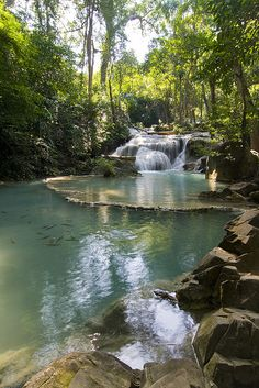Erawan Waterfalls National Park in Kanchanaburi Province, Thailand