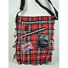 Red Plaid 50s Skull Punk Bag Purse British Deathrock Oi