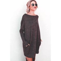 Coffee Boat Neck Pockets Long Sleeve Casual Shift Sweater Dress (€21) ❤ liked on Polyvore featuring dresses, long sleeve dress, purple long sleeve dress, long sleeve sweater dress, long sweater dress and long day dresses