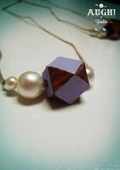 Wood Crystal Pearl necklace.