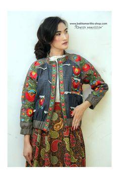Batik Amarillis webstore www.batikamarillis-shop,com Batik Amarillis's Girl meets Boy Jacket This Unisex,timeless style that travelled through eras & aesthetics. With Raglan sleeve it's crafted in duo-tone Denim and Linen with Hungarian embroidery  stumpworkbuilds on basic hand embroidery results #fashioneditorial#embroidery#hungarianembroidery#bomberjacket#varsityjacket#chic#batikindonesia#madeinindonesia