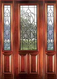 leaded glass doors like the amount of wood trim esp on bottom of