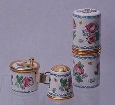 Vintage-Halcyon-Days-Enamels-Sewing-Kit-Thimble-Tape-Measure-Needle-Case-Org-Box /  17 Jul, 2014 / US $135.83