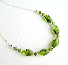 Green Necklace Sterling Silver Jewelry Olive by ZorroPlateado, $30.00