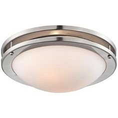"""Brushed Nickel White Glass 13 1/4"""" Wide Ceiling Light"""