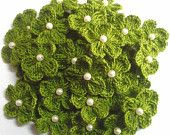 24 Pcs  Crochet Flower  And Bead In The Middlefor Scrapbooking Wedding Craft Card Making Deco Head Piece yu-65