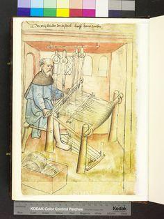 1425 loom and balls of wool Die Hausbücher der Nürnberger Zwölfbrüderstiftungen Medieval Market, Medieval Life, Loom Weaving, Lucet, Medieval Crafts, Medieval Tapestry, Masonic Symbols, Weaving Textiles, Middle Ages