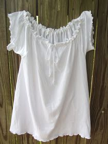 Upcycle a men's t-shirt into a peasant shirt.  Full tutorial. Cute!