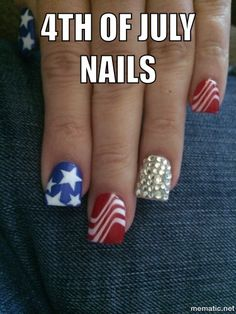 Forth of July themed acrylic nails! 4th Of July Nails, Fourth Of July, My Beauty, Beauty Hacks, Beauty Tips, New Nail Designs, Nail Jewelry, Nail Technician, Kiss Makeup