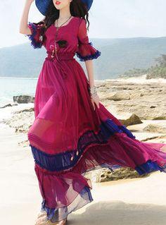 Bohemian Flare Sleeve Patch A-Line Maxi Dress