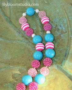 Pink and Blue Chunky Bubblegum Necklace for Child or Adult. $18.00, via Etsy.