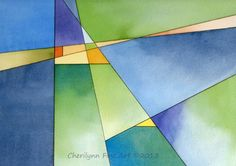 """Renewal geometric abstract watercolor pen and ink painting, 11""""x7"""" painted by artist, Cherilynn Wood of Cherilynn Fine Art"""