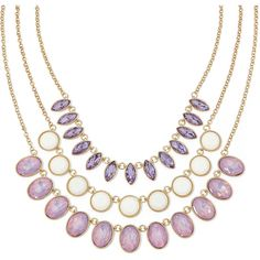 Monet Purple and White Stone Gold-Tone 3-Row Necklace ($34) ❤ liked on Polyvore featuring jewelry, necklaces, gold tone necklace, purple necklace, long necklace, white jewelry and gold colored necklace