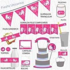 Imprimible Unicornio fucsia Happy, Chopsticks, Hot Pink, Garlands, Unicorn, Printables, Stickers, Bottles, Pies