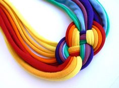 Upcycled rainbow necklace  colors for by cirrhopp on Etsy, $25.00  I'm in love with this.