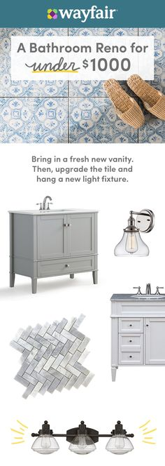 To completely change the look of your bathroom without breaking the bank, try installing a new vanity, swapping out your light fixtures, and upgrading your tile. Shop wayfair.com for the best bathroom reno selections and enjoy FREE shipping on all orders over $49! Downstairs Bathroom, Bathroom Renos, Narrow Bathroom, Stone Bathroom, Simple Bathroom, Upstairs Bathrooms, Diy Bathroom Reno, Bathroom Ideas, Bathroom Renovations