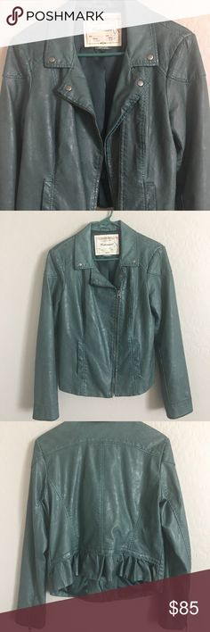 ANTHROPOLOGIE Vegan Leather Cartonnier  Jacket This is the softest jacket!! Luxury feel on the inside, ruffle detail in the back. size 12 but truest size is 8-10, 18 inch armpit to armpit. 24 inch sleeve measurement. In great condition. Hate to see it go but not my size. 😭 * the measurement details in the first picture are for a smaller size. Anthropologie Jackets & Coats