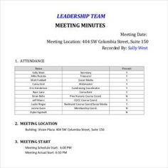 Leadership Team Meeting MinutesTeam Minutes Templates