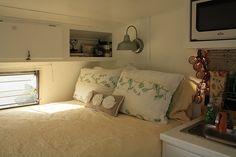 Vintage Camper inside bed