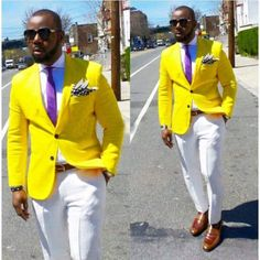 Yellow Men Suits Handsome Cool Fashion Tuxedos Custome Homme Terno Masculino Slim Fit Blazer Men (Jacket+Pant+Tie+Handkerchiefs)