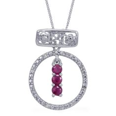 Ruby and Diamond Pendant with Chain in Platinum Overlay Sterling Silver (Nickel Free) | #CustomerCreations
