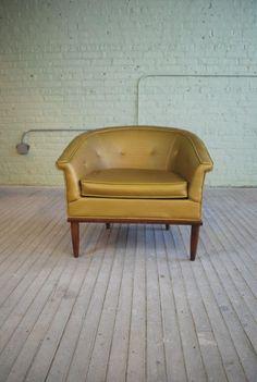 Vtg PAOLI Chair Gold Goldenrod Metallic Mid Century Barrel Tub Regency Armchair #Regency #PaoliChairCo