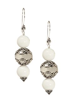 Sterling silver and white shell earrings (bead caps on a coin pearl, 2 beads only)