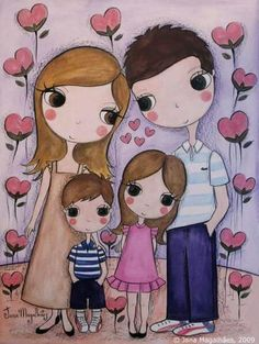 C Art Drawings For Kids, Cute Drawings, Art For Kids, Mother Daughter Art, Mother Art, Family Illustration, Cute Illustration, Family Drawing, Cute Couple Art
