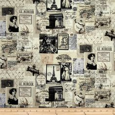 Timeless Treasures Letters from Paris Paris Map Collage Cream from @fabricdotcom  Designed for Timeless Treasures Fabrics, this cotton fabric is perfect for quilting, apparel and home decor accents. Colors include cream, black, grey and brown.