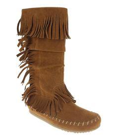 Brown Fringe Moccasin Boot