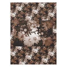 Beautiful brown and white floral design. tablecloth
