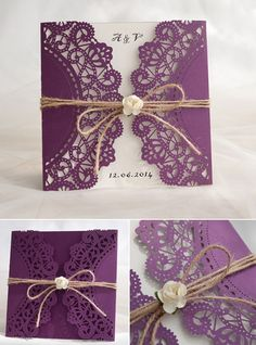 rustic purple laser cut invitation with twine and flower