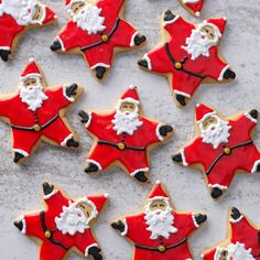 Santa Star Cookies Recipe -Cookie baking can't get any more fun than when you are making—and decorating—these adorable Santa cookies. They are also really good to eat.Taste of Home Test Kitchen Christmas Goodies, Christmas Baking, Christmas Treats, Christmas Star, Star Cookies, Cut Out Cookies, Christmas Sugar Cookies, Holiday Cookies, Crea Fimo