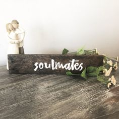SoulmatesCustom Rustic Farmhouse Reclaimed Wood Sign/Bedroom Decor/Anniversary Wedding Valentine's Day Gift/For Couple Him or Her by PetalsPalletsRestore on Etsy Reclaimed Wood Signs, Custom Wood Signs, Wooden Signs, Diy Valentines Day Gifts For Him, Valentines Diy, Diy Valentine's Gifts For Her, Farm Theme, Gift Finder, Canvas Crafts
