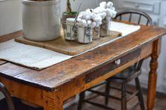 Shabby Love: Rustic Farm Table.  Great idea for a simple centerpiece!