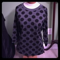 NWOT! Coldwater Creek dots sweater NWOT! Grey with black polka dots. Folded cuff 3/4 sleeves. 60% polyester 31% rayon 1% spandex.  Brand new condition. Coldwater Creek Sweaters Crew & Scoop Necks