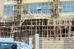 Health and Safety the Kenyan Way - a typical Wooden Scaffolding