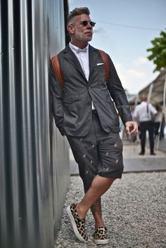 Nick Wooster wearing his signature suit and shorts combo. #menswear #mens #fashion