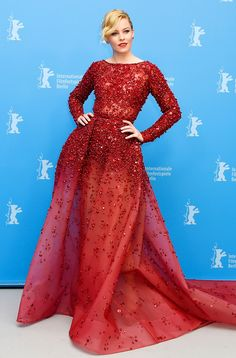 Elizabeth Banks from Stars at the 2015 Berlinale International Film Festival  Whew! The blond beauty is mesmerizing in a ruby Elie Saab gown at the Love & Mercy photo call.